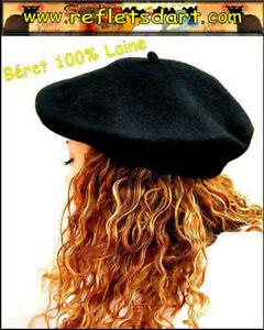 FRENCH BLACK BERET BASQUE PARIS FRANCE HAT FASHION HISTORY 100 % WOOL