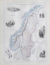 c1854 SWEDEN & NORWAY Genuine Antique Map by Rapkin FREE SHIPPING WORLDWIDE