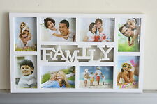 High Class Plastic 8 in 1 Multi Photo Frame - 'Family' - White or Black -On Sale