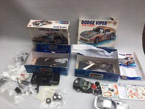 2 x Burago 1:24 Scale Metal Kits Partially Built Dodge Viper GTS Lancia Delta S4