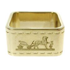 HERMES Logos Horse Motif Scarf Ring Gold-Tone Accessories Vintage AK38145