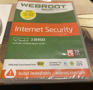 Webroot Secure Anywhere Internet Security w/ Antivirus - 3 Devices