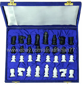 Stone Chess Set Handmade Marble Alabaster Chess Pieces with Blue Box King 1.5''