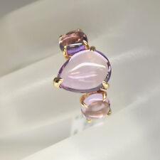Moderner Ring 6 Brillanten 0,02ct TW-si und 3 Amethyste 7,66ct 750/18K Rosegold