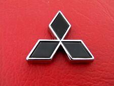 "MITSUBISHI SMALL BLACK METAL DIAMOND 35mm BADGE 1 3/8"" Emblem ~ Lancer"