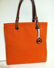 MICHAEL KORS Orange Tote Tangerine Canvas Purse Bag $198