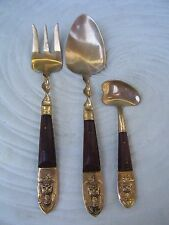 Siam Brass Brown Teak Wood Jelly Spoon Twisted Spoon Meat Fork Buddha Thailand