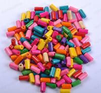 Wholesale 50pcs Bright Color Wooden tubular Wood Beads 12X6MM 14 Colours