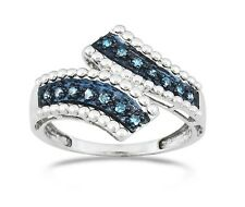 Silver Blue Diamond Ring .925 Sterling Silver Blue Diamond Band .15ct Size 7