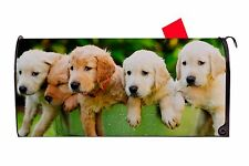 Golden Retriever Puppies in Pail Dog Magnetic Vinyl Mailbox Cover Usa Made