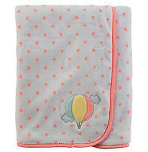 """Carter's Baby Girl's Plush Cozy Embroidered """"Balloon"""" Blanket; White/Pink"""