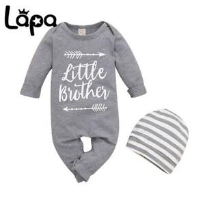LAPA Baby Newborn Boy Little Brother Outfits Long Sleeve Romper Jumpsuit Hat Set