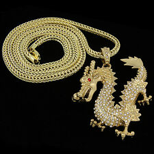 "Men's Gold Plated XL Hip Hop China Dragon Pendant 30"" Franco Chain Necklace D896"