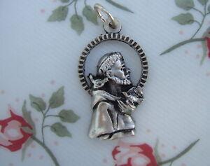 Catholic Medal ST. FRANCIS ASSISI Patron Pets, Animals silvertone metal cutout