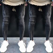 Para Hombre rasgada Stretch Super Skinny Slim Fit Pantalones Casuales Elegantes pantalones vaqueros del dril de algodón negro