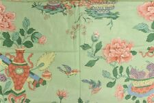 """""""Fab Chinoiserie Celedon Green Glazed Chintz Fabric w/ Flowers in Vases"""""""