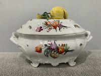 Vintage Antique GermanNymphenburg Porcelain Tureen w/ Floral Decoration