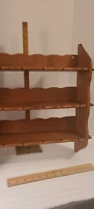 Vintage Wood Wall Shelf. Notched shelves likely for holding spoons