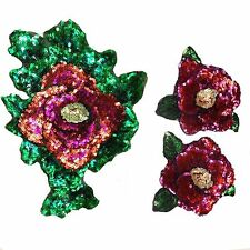 3pcs Red Rose Floral 3D Sequin Sew On Embroidered Applique DIY Clothing Patch