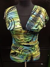 Carrie Allen Blue Yellow Green Patterned Rouged Shirt Top Blouse NWT Sz Large