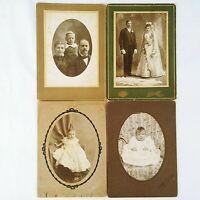 Vintage Cabinet Card Photographs Studio Infant Family Wedding Lot Of 4