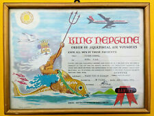 Vintage Qantas Australian Airways Original Equator Crossing Certificate 1965