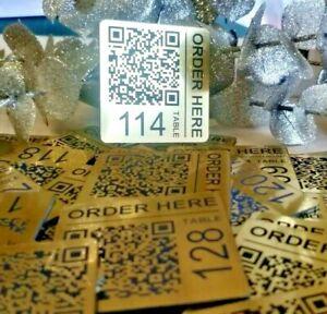 Scan to Order QR Code 50mm Square Laser Engraved Tags, Pub Menu, Restaurant