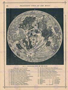 GEOGRAPHY MAP ILLUSTRATED ANTIQUE TELESCOPIC MOON POSTER ART PRINT BB4497B