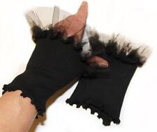 Stulpen Fingerlos Handschuhe schwarz kurz Tüll Rüschen Armstulpen