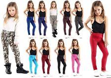 Girls KIDS  Plain Leggings Trousers Full Crop Stretch printed Legging 45% Cotton