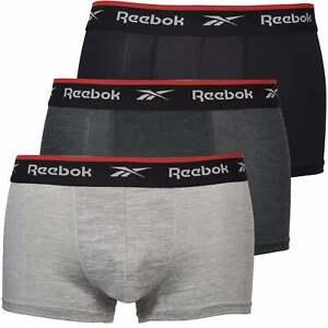 Reebok 3-Pack Sports Performance Men's Boxer Trunks, Grey Marl/Black/Charcoal