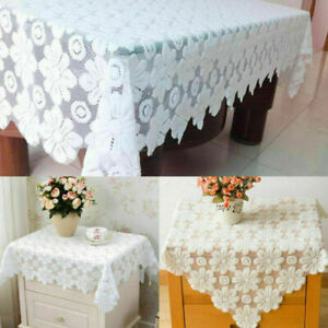 White Vintage Lace Tablecloth Floral Sofa Table Cover Wedding Party Home Decor