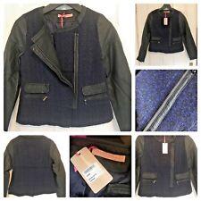 Tamaño 10 Nuevo Tweed Imitación De Cuero Biker Jacket Navy Blue Sparkle Cremallera de medianoche