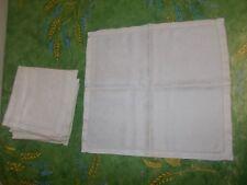 6 vintage Scandinavian Linen Damask Ladder Stitch large white napkins, used