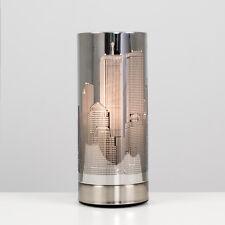 Modern Silver Chrome New York City Skyline Touch Dimmer Bedside Table Lamp Light