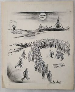 1950s OG Newton Pratt Signed Dwight Eisenhower FORE, PLEASE, FORE! Cartoon
