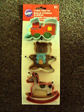 WILTON XMAS COOKIE CUTTER SET TRAIN BEAR ROCKING HORSE NEW BABY CHRISTENING? NEW
