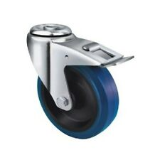 Castor Industrial Blue Rubber - Bolt Hole and Brake Type 160mm