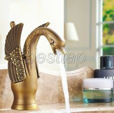 Antique Brass Carved Animal Swan Style Bathroom Basin Mixer Tap Faucet snf087