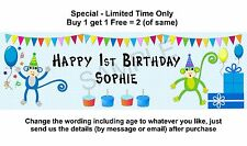 Personalised 1st Baby or Boy Birthday Party Banner Sign, Monkey - Blue Bunting