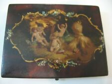 Antique English Hand Painted Sewing Patch Box