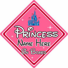 Personalised Disney Princess On Board Car Sign - Baby On Board - Princess Castle