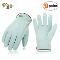 Vgo 3Pairs/9Pairs Cowhide Split Leather Work Gloves,Driver,DIYGloves(CB9501P3-W)