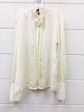 RALPH LAUREN Womens ruffle collar blouse Sz 12 100% SILK cream button up Career