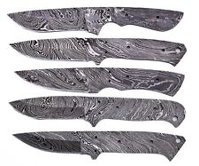 5XDamascus steel BLANK BLADES FIX BLADE HUNTING KNIVES LOT OF 5