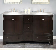 60-inch Bathroom Double Vanity White Marble Counter Top Dual Sink Cabinet 0703WM