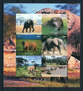 MALAWI 2012 ELEPHANTS LOXODONT ANIMALS WILD NATURE FAUNA STAMPS BLOCK IMPERF MNH