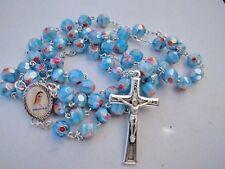 Catholic Sky Blue Rosary Murano Glass Rosaries From Medjugorje + GIFT BAG