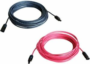 WindyNation 8awg, 1 Pair 10 ft Red & Black, Solar Panel Extension Cables w/ MC4