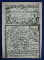 Original antique map from 'Britannia Depicta' , HEREFORDSHIRE, Bowen, c.1724